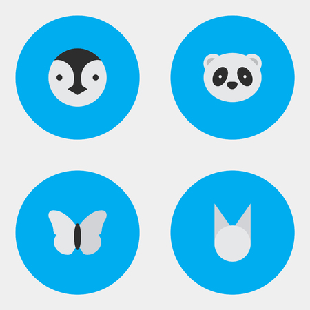 Vector Illustration Set Of Simple Animals Icons. Elements Cat, Moth, Bear And Other Synonyms Penguin, Moth And Panda. Illustration