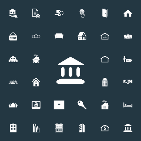 Vector Illustration Set Of Simple Estate Icons. Elements Residential, Contract, Domicile And Other Synonyms Contract, Center And Board. Illustration