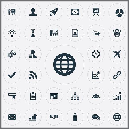 벡터 일러스트 레이 션 간단한 전략 아이콘의 집합입니다. 요소 모집, 성공, 사용자 및 기타 동의어 다이어그램, 핸드 셰이크 및 후보. 일러스트