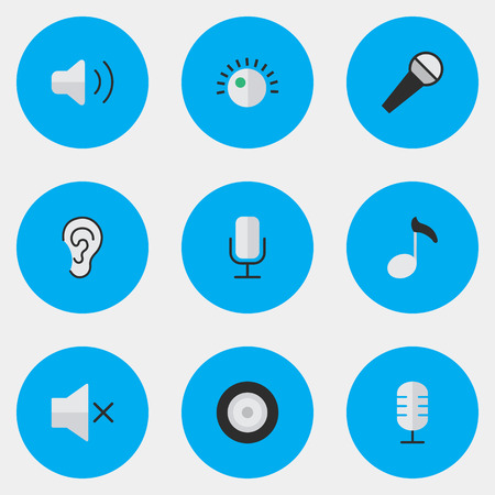 Vector Illustration Set Of Simple Melody Icons. Elements Mike, Record, Loudspeaker And Other Synonyms Sound, Mic And Ear.
