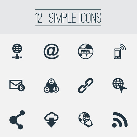 Vector Illustration Set Of Simple Internet Icons. Elements Wifi, Chain, Nucleus And Other Synonyms Cursor, Www And Chain.