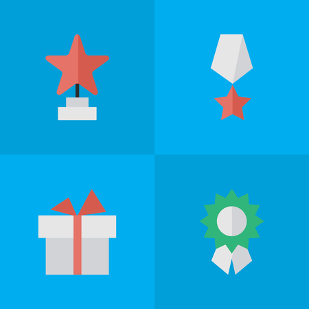 Vector Illustration Set Of Simple Prize Icons. Elements Present, Star, Reward And Other Synonyms Gift, Present And First.