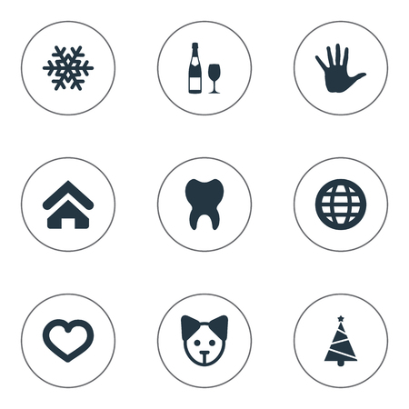 Vector Illustration Set Of Simple Brood Icons. Elements Earth, Dog, Alcohol And Other Synonyms Dog, Home And Cure.