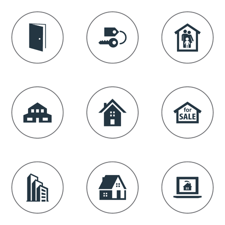 Vector Illustration Set Of Simple Property Icons. Elements Online Property, Home, Family In House And Other Synonyms Sale, Townhouse And Building. Illustration