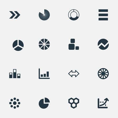 벡터 일러스트 레이 션 간단한 그래프 아이콘의 집합입니다. 요소 라인 바, 사각형, 화살표 및 기타 동의어 메뉴, 블록 및 섹션.