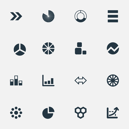 Vector Illustration Set Of Simple Graph Icons. Elements Line Bar, Square, Reverse Arrows And Other Synonyms Menu, Blocks And Section.