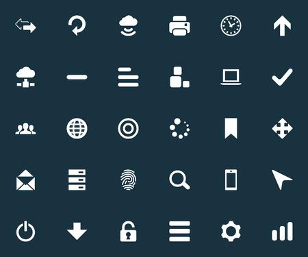 Illustrazione vettoriale Set di icone semplici di pratica. Elementi Varietà, Rinfresco, Direzione verso l'alto e Altri sinonimi Inizio, Cassetto e Zoom. Archivio Fotografico - 82821878