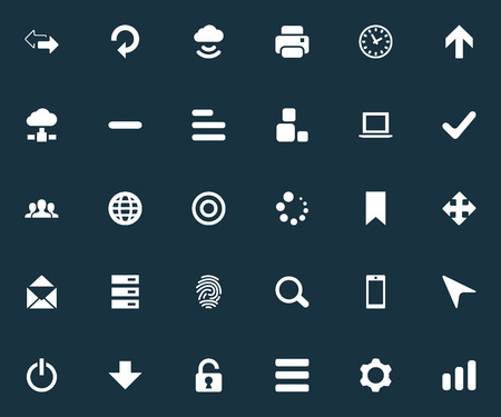 Vector Illustration Set Of Simple Practice Icons. Elements Variety, Refresh, Upward Direction And Other Synonyms Begin, Drawer And Zoom.