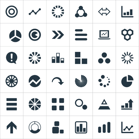 Vector Illustration Set Of Simple Chart Icons. Elements Circular, Target, Ejaculation And Other Synonyms Graph, Circular And Composition.