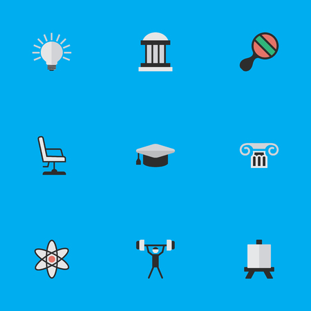 Vector Illustration Set Of Simple Education Icons. Elements Bulb, Molecule, University And Other Synonyms Hat, Idea And Building.