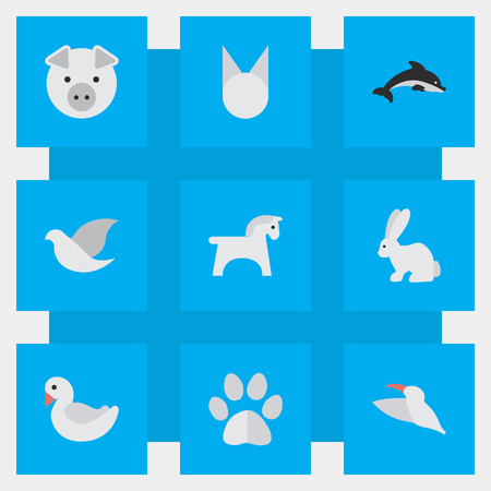 oink: Vector Illustration Set Of Simple Animals Icons. Elements Crane, Swan, Steed And Other Synonyms Dove, Cat And Crane. Illustration