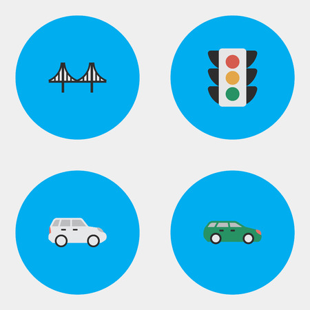 Vector Illustration Set Of Simple Transportation Icons. Elements Suv, Bridgework, Traffic Lights And Other Synonyms Jumper, Lighter And Crossover. Illustration