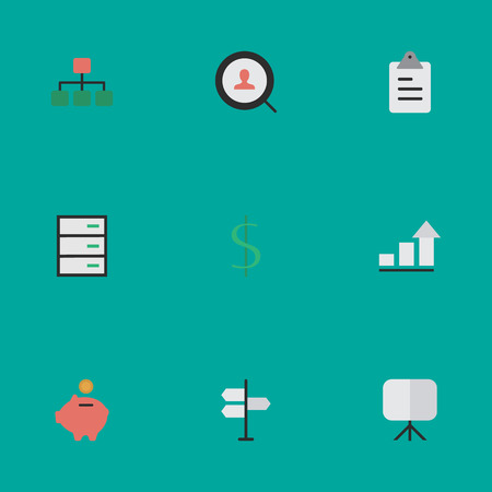 Vector Illustration Set Of Simple Trade Icons. Elements Structure, Magnifier, Dollar And Other Synonyms Greenback, Painting And Chest. Illustration