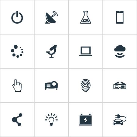 Vectorillustratiereeks Eenvoudige Hitech-Pictogrammen. Elementen Plug, delen, vingerafdrukken en andere synoniemen laden, gegevens en presentatie. Stock Illustratie
