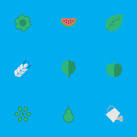 Vektor-Illustrations-Satz einfache Garten-Ikonen. Elementblatt, Blüte, Holz und andere Synonyme können, Holz und Pflanze. Standard-Bild - 82821908
