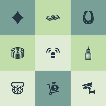 Vektor-Illustrations-Satz einfache spielende Ikonen. Elemente Geld Sack, Bargeld, Sirene und andere Synonyme Währung, Geld und Licht. Standard-Bild - 82821909