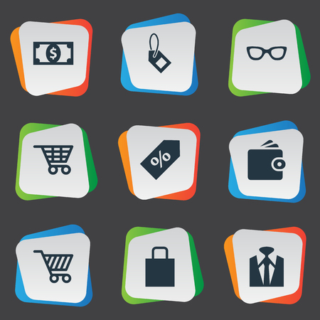 Vector Illustration Set Of Simple Money Icons. Elements Label, Shop Trolley, Cart And Other Synonyms Bill, Action And Currency.