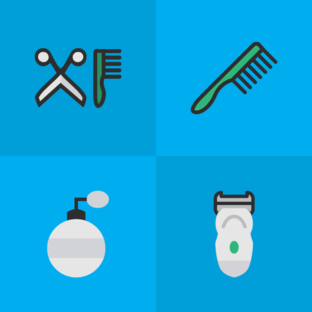 Vector Illustration Set Of Simple Barber Icons. Elements Fragrance, Electronic, Hairbrush And Other Synonyms Tool, Hairdresser And Slavering. Illustration
