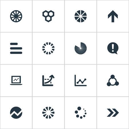 単純なグラフ アイコンのベクター イラスト セット。要素の輪郭、ノート パソコン、サージ、他の同義語ハニカム ドキュメントと方向。