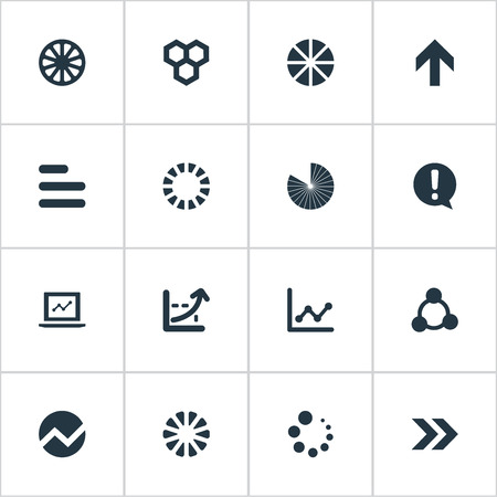 Vector Illustration Set Of Simple Chart Icons. Elements Contour, Laptop, Surge And Other Synonyms Honeycomb, Document And Direction. Illustration