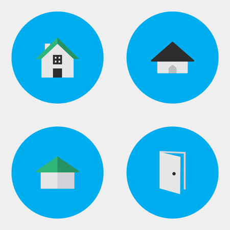 Vector Illustration Set Of Simple Real Icons. Elements Base, Home, Architecture And Other Synonyms Building, Home And Door. Çizim