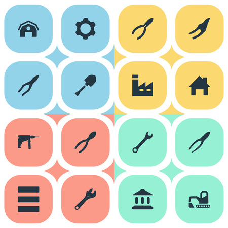 Vector Illustration Set Of Simple Construction Icons. Elements Clipping Tool, House, Hangar And Other Synonyms Digger, Cogwheel And Jaws.