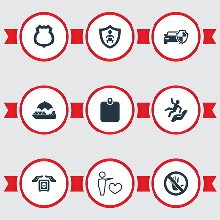 Vector Illustration Set Of Simple Insurance Icons. Elements Protected Vehicle, Safe Shipping, Police Badge And Other Synonyms Shield, Heart And Strongbox.