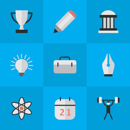 Vector illustratie Set van eenvoudige kennis iconen. Elements Nib, Bulb, Goblet en andere synoniemen Almanak, lamp en lifter. Stock Illustratie