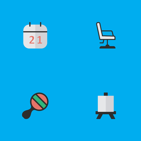 Vector Illustration Set Of Simple Knowledge Icons. Elements Easel, Date Block, Armchair And Other Synonyms Easel, Board And Painting. Illustration