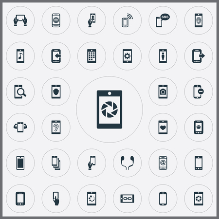 Vector Illustration Set Of Simple Mobile Icons. Elements Investigate On Phone, Using A Telephone, Internet On Phone And Other Synonyms Wifi, Settings And Internet.