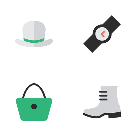 Vector Illustration Set Of Simple Accessories Icons. Elements Boot, Headgear, Wristwatch And Other Synonyms Fedora, Wear And Time.
