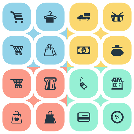 벡터 일러스트 레이 션 간단한 판매 아이콘의 집합입니다. 요소 새 항목, 쇼핑 트롤리, 패키지 및 기타 동의어 가격, 선물 및 플라스틱.