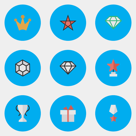 Vector Illustration Set Of Simple Reward Icons. Elements First, Brilliant, Present And Other Synonyms Trophy, Diamond And First. 向量圖像