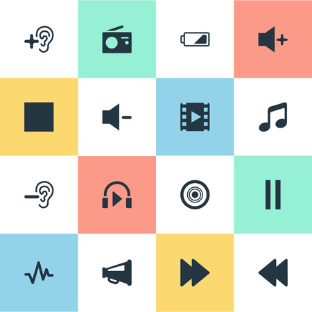 Vector Illustration Set Of Simple Audio Icons. Elements Musical Speaker, Plus, Sound And Other Synonyms Melody, Pause And Quiter. Illustration