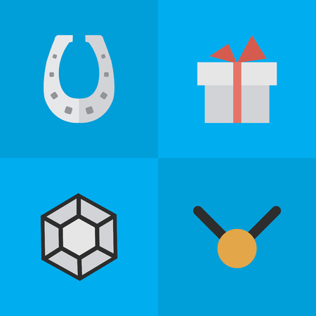 Vector Illustration Set Of Simple Prize Icons. Elements Brilliant, Present, Metal And Other Synonyms Precious, Gift And Medal.