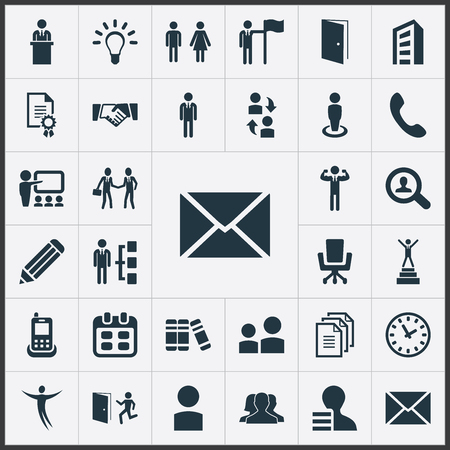 Vector Illustration Set Of Simple Human Icons. Elements Date Block, Evacuation, Worker And Other Synonyms Job, Cooperation And Demonstration.