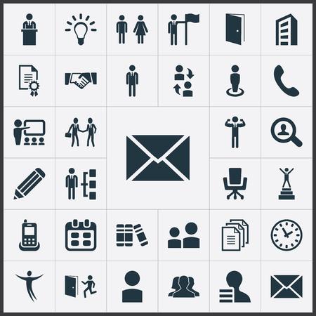 Vektorabbildung-Satz einfache menschliche Ikonen. Elements Date Block, Evakuierung, Arbeiter und andere Synonyme Job, Kooperation und Demonstration. Standard-Bild - 82821955