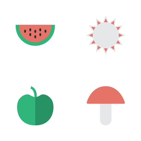 Vector Illustration Set Of Simple Gardening Icons. Elements Fruit, Melon, Fungus And Other Synonyms Apple, Fungus And Boletus.
