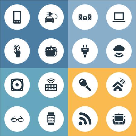 単純なデバイスのアイコンのベクトル イラスト セット。他の同義語のオーブン、オーブン、エコ交通要素スマート フォン キーパッドとメガネ。  イラスト・ベクター素材