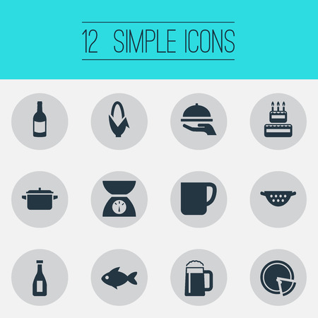 Vector Illustration Set Of Simple Preparation Icons. Elements Scales, Rinser, Hot Dish And Other Synonyms Wine, Bottle And Italy.