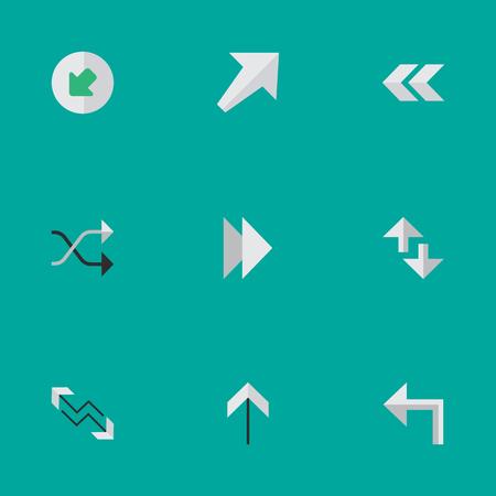 벡터 일러스트 레이 션 간단한 화살표 아이콘의 집합입니다. 요소 커서, 남서쪽, 화살표 및 기타 동의어 왼쪽, 북서쪽 그리고 앞으로.