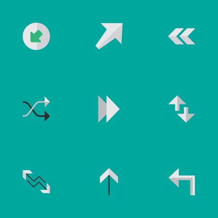 Vector Illustration Set Of Simple Arrows Icons. Elements Cursor, Southwestward, Arrow And Other Synonyms Left, Northwestward And Forward.