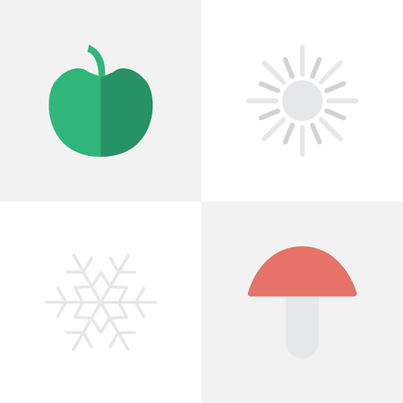 Vector Illustration Set Of Simple Garden Icons. Elements Flake Of Snow, Fungus, Sun And Other Synonyms Apple, Hot And Fungus.