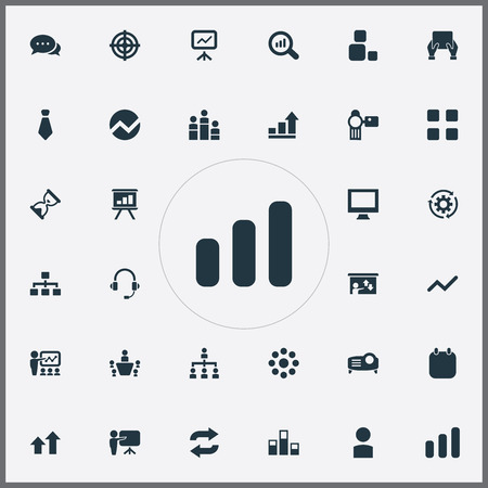 Vector Illustration Set Of Simple  Icons. Elements Projecting Device, Growing Up, Group And Other Synonyms Date, Bar And Arrow. Illusztráció