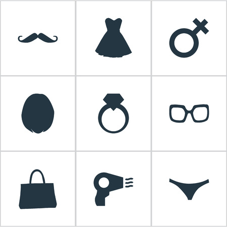 Vector Illustration Set Of Simple Elegance Icons. Elements Blowdryer, Evening Gown, Jewel And Other Synonyms Hairstyle, Male And Purse. Illustration
