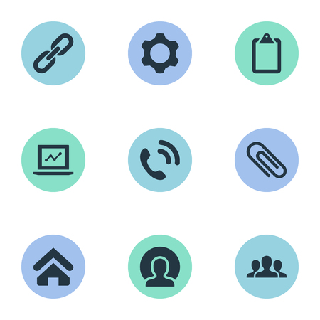 Vector Illustration Set Of Simple Interaction Icons. Elements House, Worldwide Success, Note Pad And Other Synonyms Cogwheel, Chart And Worldwide.