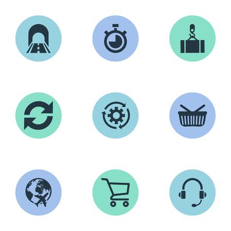 Ilustración vectorial Conjunto de iconos simples de logística. Elementos De Cuenta Atrás, Ciclo, Venta Al Por Menor Y Otros Sinónimos Equipo, Conexión Y Ronda.