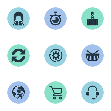Vector Illustration Set Of Simple Logistics Icons. Elements Countdown, Cycle, Retail And Other Synonyms Equipment, Connection And Round.