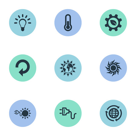 Vector Illustration Set Of Simple Ecology Icons. Elements Fahrenheit, Sunshine, Socket And Other Synonyms Sunlight, Solar And Industry. Çizim