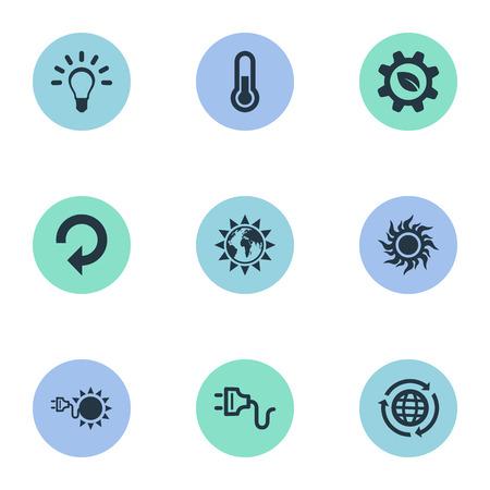Vectorillustratiereeks Eenvoudige Ecologiepictogrammen. Elements Fahrenheit, Sunshine, Socket And Other Synoniemen Zonlicht, zonne-energie en industrie. Stock Illustratie